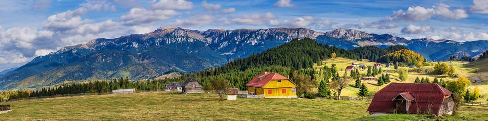 Bucegi mountains seen from Fundata vilage, Brasov, Romania