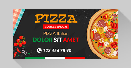 Vector pizza flyer with black background. Vector illustration with long shadow.