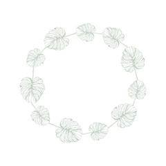 Tropical Leaves Frame. Hand Drawn.
