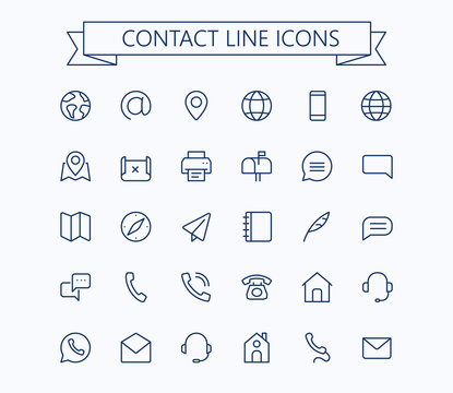 Contact line mini icons. 24x24 grid. Pixel Perfect.