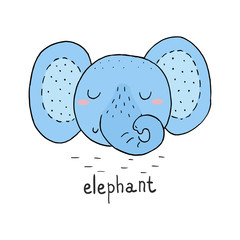 funny cute elephant cartoon style. vector print