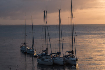 Bateaux dans le port de Sauzon à Belle-Ile en France