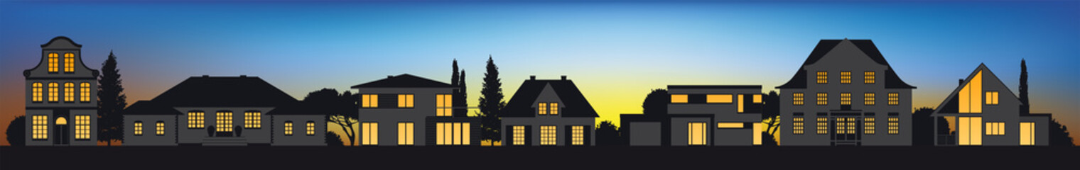 Vektor Häuser Immobilien Altbau Neubau bei Sonnenuntergang