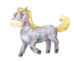 cartoon horse with watercolor. Children's drawing