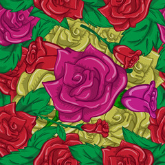 Seamless background of multi-colored roses