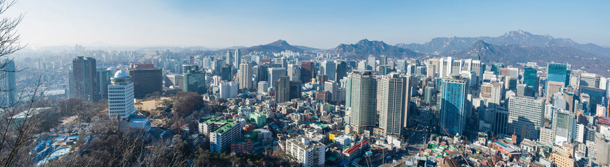 Panoramic view of Seoul, capital city of South Korea