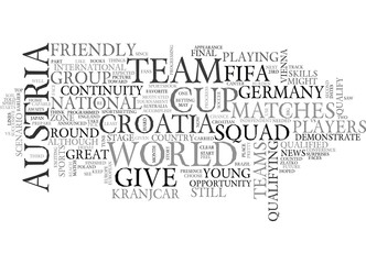 AUSTRIA VS CROATIA TEXT WORD CLOUD CONCEPT
