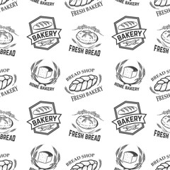 Seamless pattern with bakery emblems. Design element for poster, wrapping paper. Vector illustration