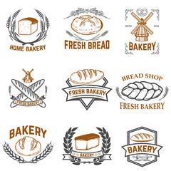 Set of bakery labels. Bread shop, fresh bread. Design elements for label, emblem, sign. Vector illustration