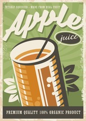 Apple juice retro poster design with glass of juice on green old paper texture