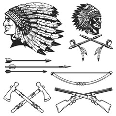Set of native american indians chiefs heads. National american indians headdress, bow, arrows, smoking pipe, tomahawk. Vector illustration