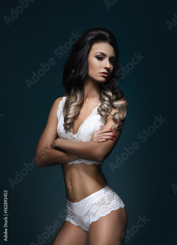 Brunette babes in lingerie