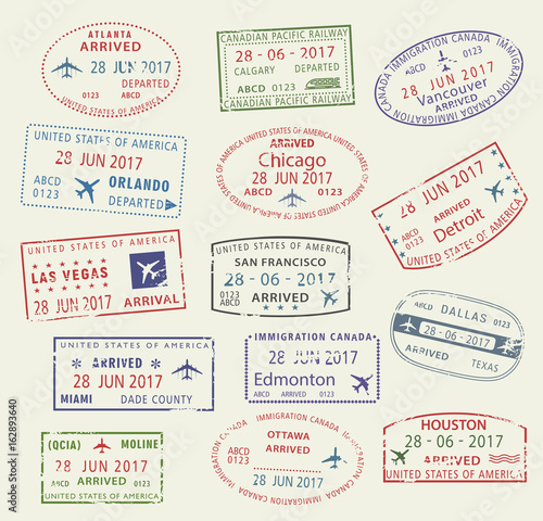Vector Icons Travel City Passport Stamp USA Canada