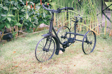 Old black bike without tires Parked on the lawn in the garden