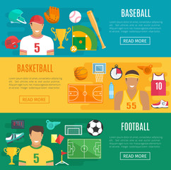 Vector banners baseball, football basketball sport