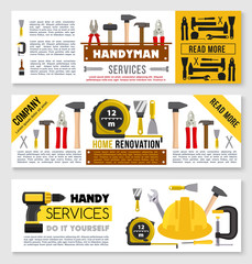 House repair banner set ot construction work tools