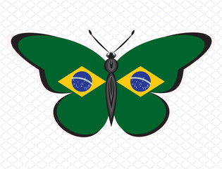 Butterfly in the colors of BRAZIL flag