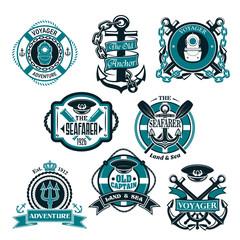Vector icons set of nautical and marine symbols
