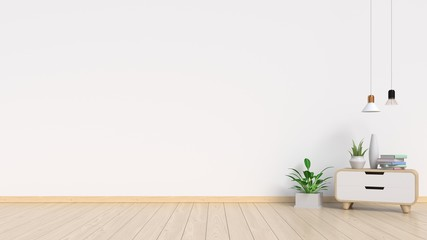 Living Room Interior with plants, cabinet,lamp on empty white wall background. 3D rendering