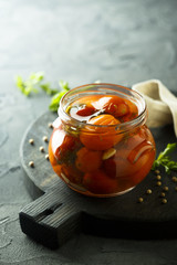 Preserved tomatoes with dill and spices