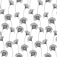 Seamless floral pattern with hand-drawn chamomiles on a white background.