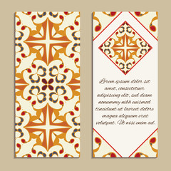 Vector set of colorful vertical banners for business and invitation. Spanish, Moroccan; Arabic; asian ornaments