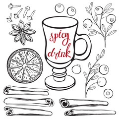 Spicy drink. Vector illustration with isolated elements of ingredients. Black outlines on a white background.