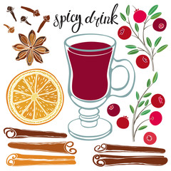 Spicy drink. Vector illustration with isolated elements of ingredients.