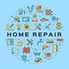 Home Repair circle infographics Сonstruction icon. House remodel thin line art icons. Vector flat illustration