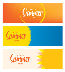 Hello summer time heading 3 design for banner or poster. Summer event concept. Vector illustration.
