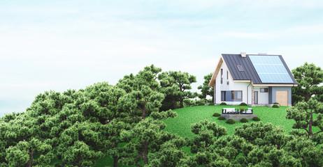 Casa eco sostenibile con pannelli solari, su collina