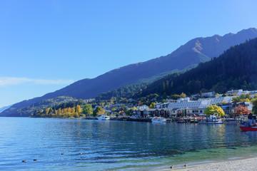 Beautiful Queenstown on Lake Wakatipu in Autumn , South Island of New Zealand