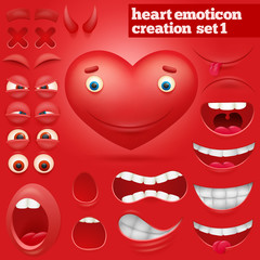Creation set of cartoon heart emoticon character