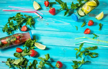 Detox fruit infused water. Refreshing summer homemade cocktail. Copyspace