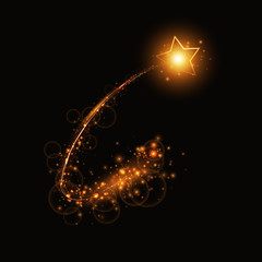 A golden comet with a star and light effects on a dark background