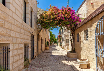 Narrow street of Yemin Moshe district in Jerusalem.