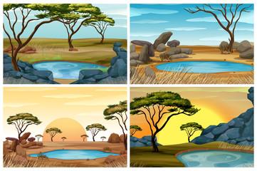 Four scenes of savanna field with waterhole