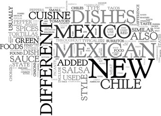 WHAT IS NEW MEXICO CUISINE TEXT WORD CLOUD CONCEPT