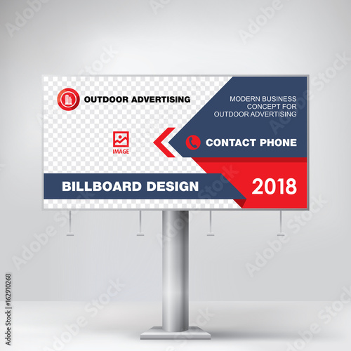 billboard modern graphic design red template banner for outdoor