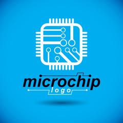 Vector technology cpu design with square microprocessor scheme. Computer circuit board, digital element. Technology microchip logo.