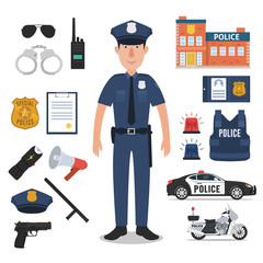 Police officer with police professional equipments