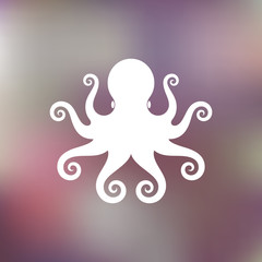 Abstract octopus on blurred background