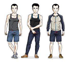 Handsome young men group standing wearing stylish sport clothes. Vector different people characters set. Lifestyle theme male characters.
