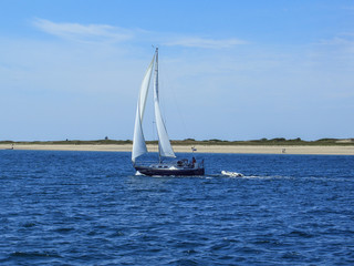 Sailboat in Cape Cod Bay Massachusetts New England