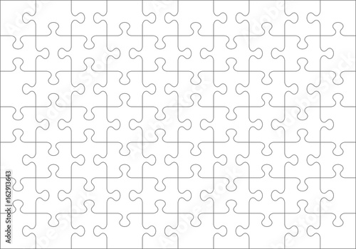 Jigsaw Puzzle Blank Template Or Cutting Guidelines Of 70 Transparent