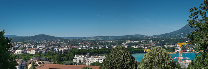 Aerial (bird) view of Annecy at Haute-Savoie department. France