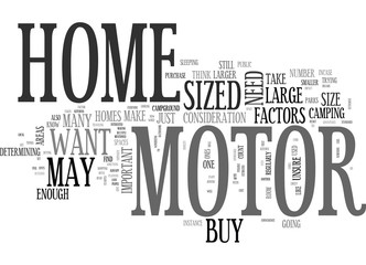 WHAT SIZE MOTOR HOME SHOULD YOU BUY TEXT WORD CLOUD CONCEPT