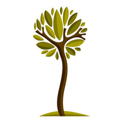 Art fairy illustration of tree, stylized eco symbol. Insight vector image on season idea, beautiful plant.