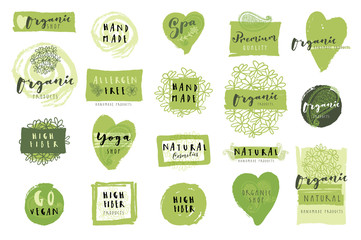 Set of Organic Handmade Product labels, stickers, badges, patches, logo templates