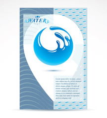 Water filtration theme booklet cover design, front page. Freshwater conceptual blue vector illustration for use in spa and resort organizations, planet Earth.